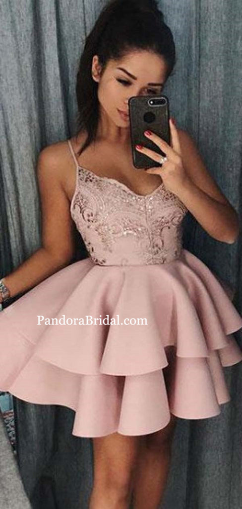 Dusty Pink Spaghetti Straps Layered Short Homecoming Dresses With Sequin, Homecoming Dresses, PD0589