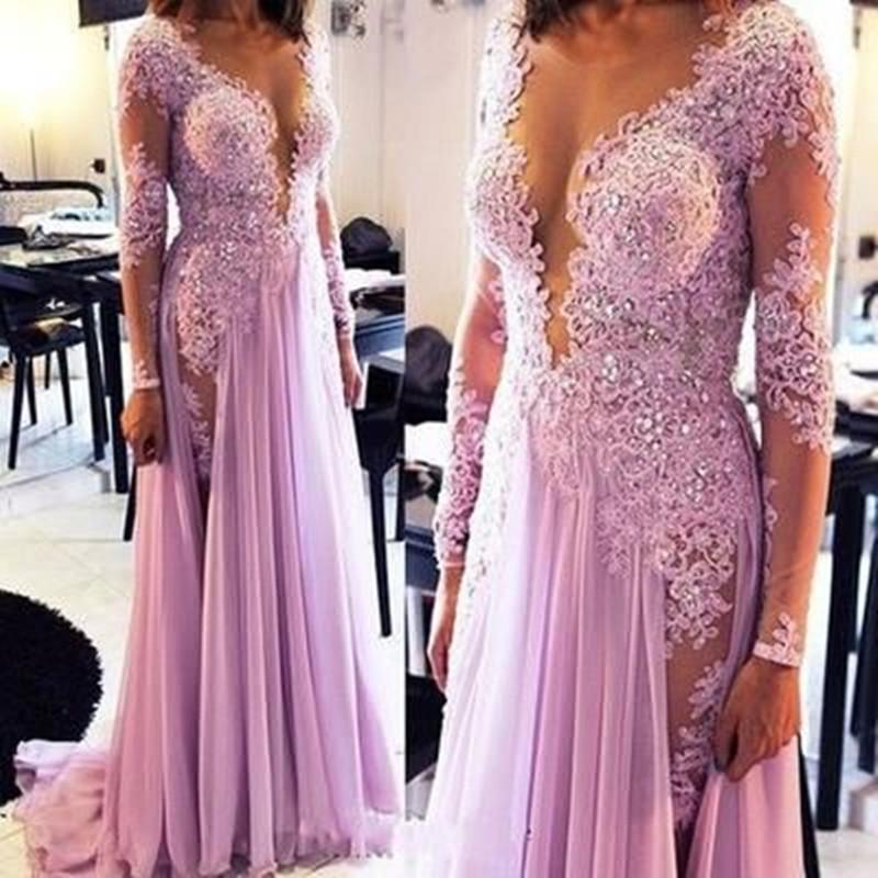 Alluring Long Sleeve Deep V-Neck Long A-Line Chiffon Prom Dresses With Lace, Beading Prom Dresses, VB01917