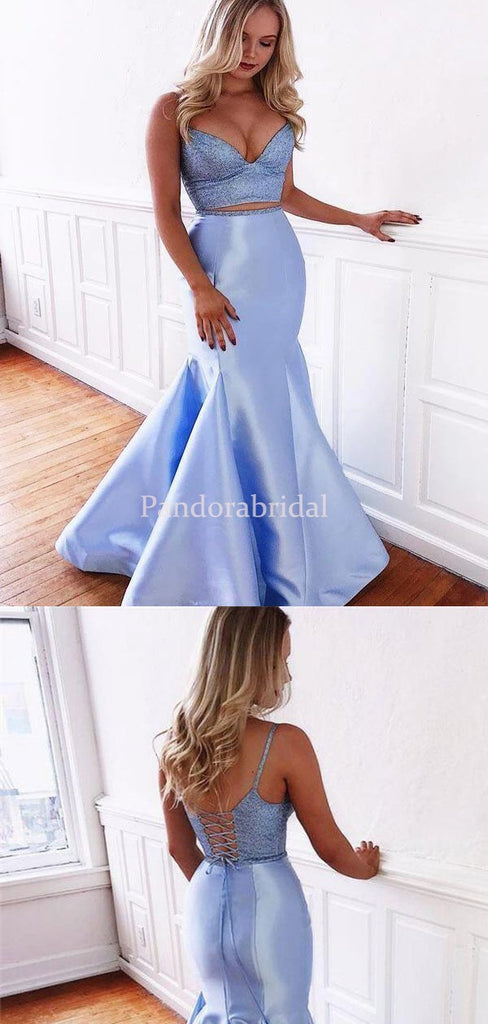 Unique Blue Two Pieces Top Beaded Mermaid Prom Dresses, VB03403
