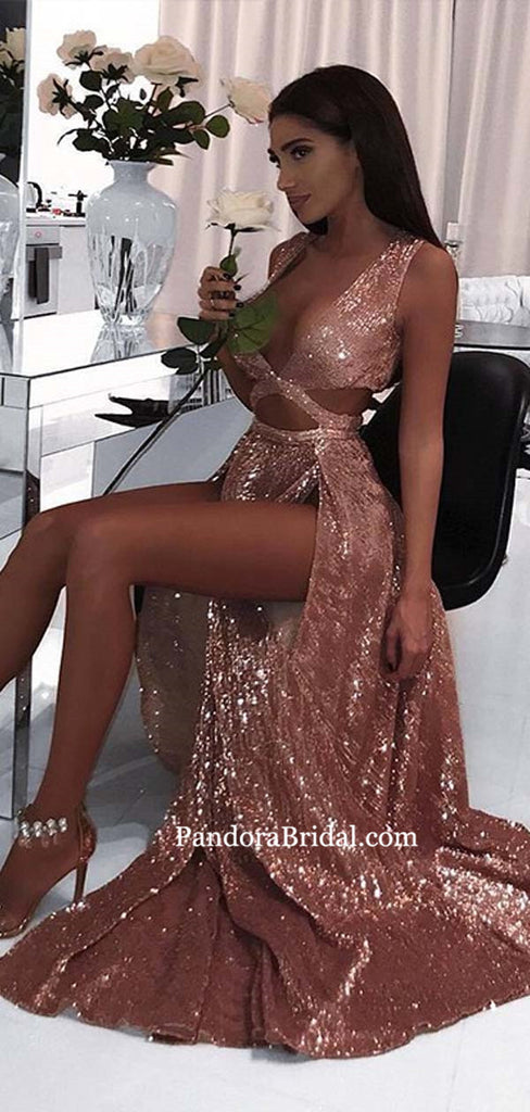 Sexy V-Neck Long A-Line Side Slit Prom Dresses, 2019 Shiny Prom ...