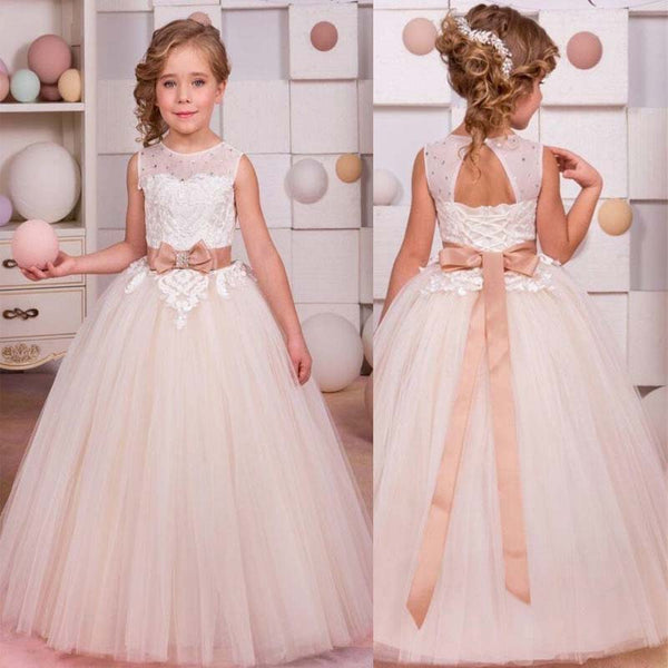 Unique Scoop Neckline Sleeveless With Lace A-Line Long Tulle Flower Girl Dresses, Beading Flower Girl Dresses With Bow-Knot, PD0220