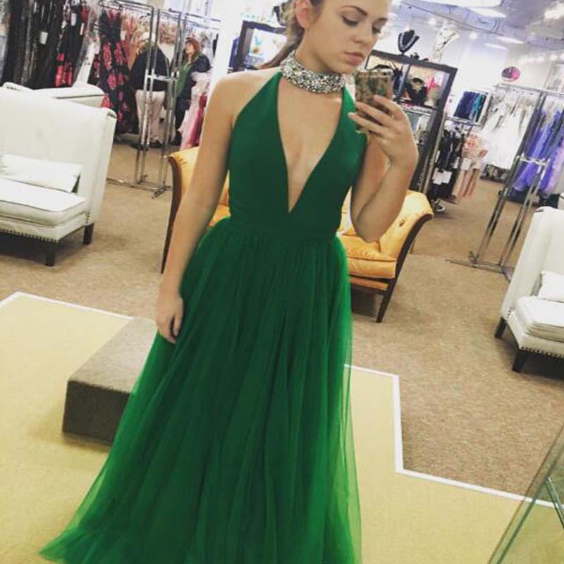 Simple Modest Halter Long A-Line Tulle Prom Dresses With Beaded, Prom Dresses, PD0558