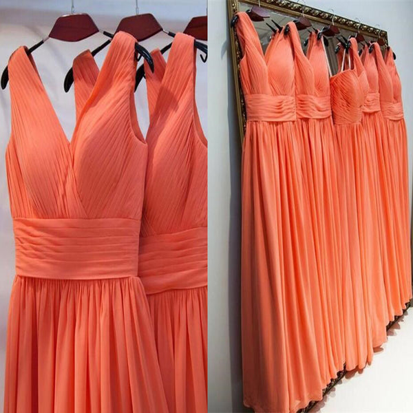 Simple Pleated V-Neck Sleeveless Floor-Length A-Line Chiffon Bridesmaid Dresses, Cheap Bridesmaid Dresses, PD0236