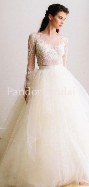 Classy See Through Lace Long Sleeve A-Line Tulle Wedding Dresses, VB03286