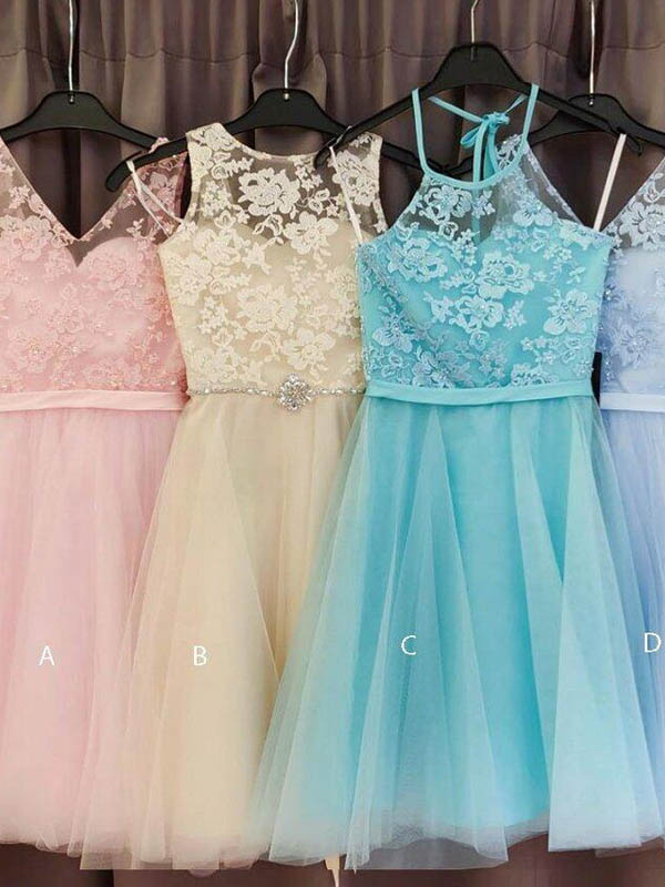 Mismatched Lace Top With Beaded Short A-Line Tulle Homecoming Dresses, Homecoming Dresses, PD0711