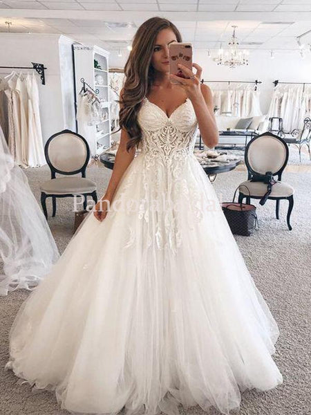 Alluring Spaghetti Straps With Appliques A-Line Wedding Dresses, 2020 Wedding Dresses, VB03287