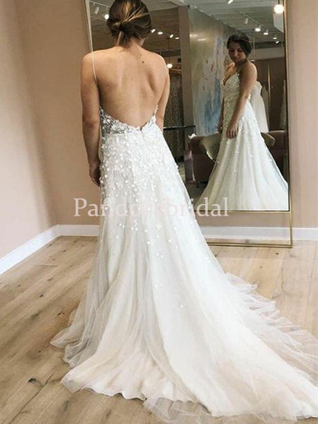 Unique Spaghetti Straps With Appliques A-Line Side Slit Wedding Dresses, VB03288