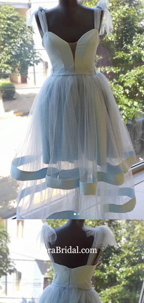 Elegant Blue Straps Short A-Line Tulle Homecoming Dresses, Homecoming Dresses, PD0748
