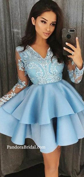 Shiny Blue Beading V-Neck Long Sleeve Layered Cupcake Homecoming Dresses, Homecoming Dresses, PD0644