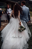 Alluring Long Sleeve With Appliques A-Line Tulle Wedding Dresses, PD01760