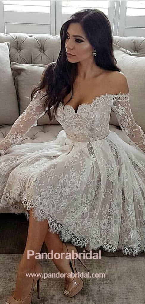 Unique Off Shoulder Long Sleeve Lace Homecoming Dresses, 2019 Freshman Homecoming Dresses, VB02548