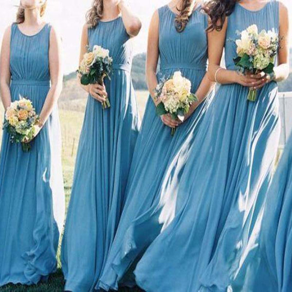 Blue Scoop Neckline Sleeveless Pleated Long A-Line Bridesmaid Dresses, Bridesmaid Dresses, PD0310