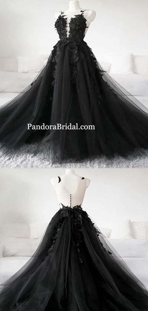 Black See-through Charming Scoop Neckline Long A-Line Tulle Prom Dresses With Appliques, Prom Dresses, PD0525