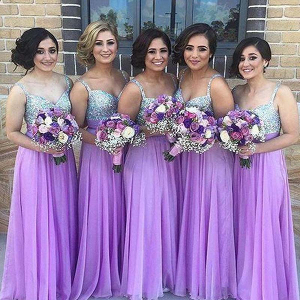Shiny Silver Top Sequin Long A-Line Lavender Chiffon Bridesmaid Dresses, Bridesmaid Dresses, PD0498