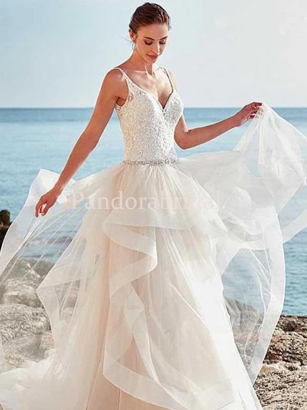 Lace Top V-neck With Beaded Asymmetrical Tulle Beach Wedding Dresses, PD01727