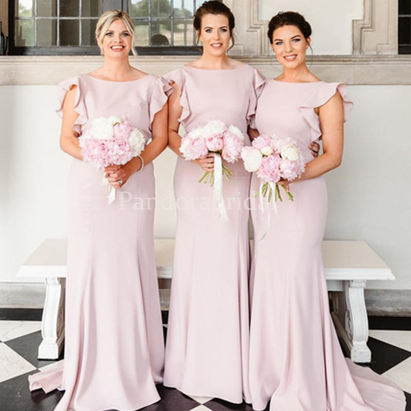 Elegant Blush Pink Cap Sleeve Sheath Bridesmaid Dresses, PD01714
