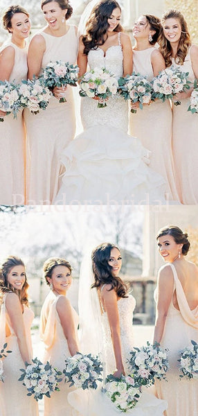 Popular Sleeveless Mermaid Jewel Back Bridesmaid Dresses, PD01734