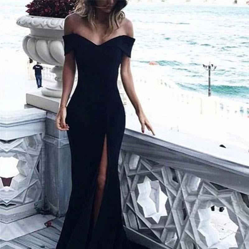 15f8f27282c1 Elegant Black Off Shoulder Long Mermaid Prom Dresses With Trailing, Simple  Prom Dresses, VB01265