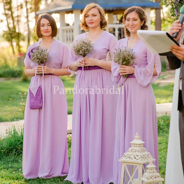 Unique Light Purple V-Neck Long A-Line Chiffon Bridesmaid Dresses, PD01700