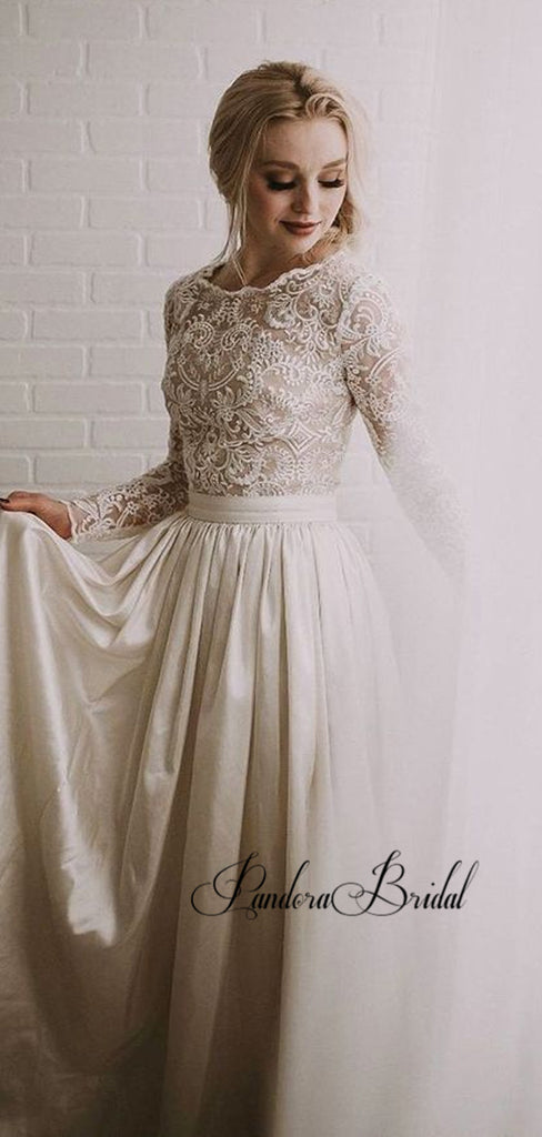 Illusion Long Sleeve Lace Top Satin Wedding Dresses, PD01786