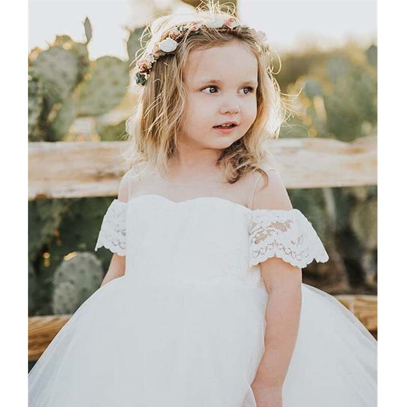 d0981291d4c White Off The Shoulder Zipper Up Lace Top A-Line Tulle Flower Girl Dresses