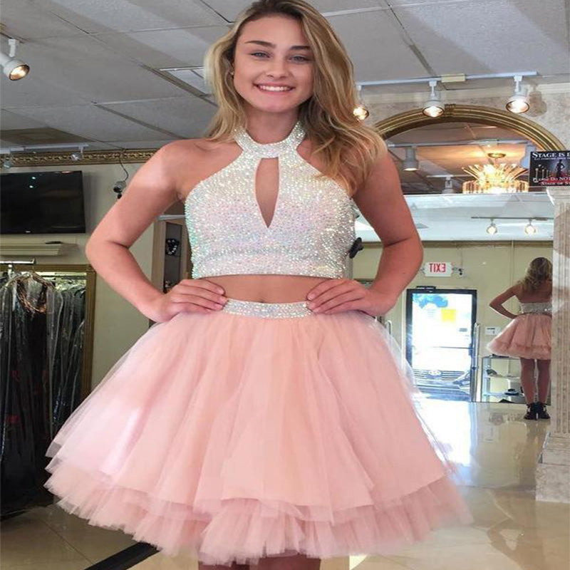 Cute Halter Two Piece Beaded Short Pink Homecoming Dresses 2018, Homecoming Dresses, PD0027