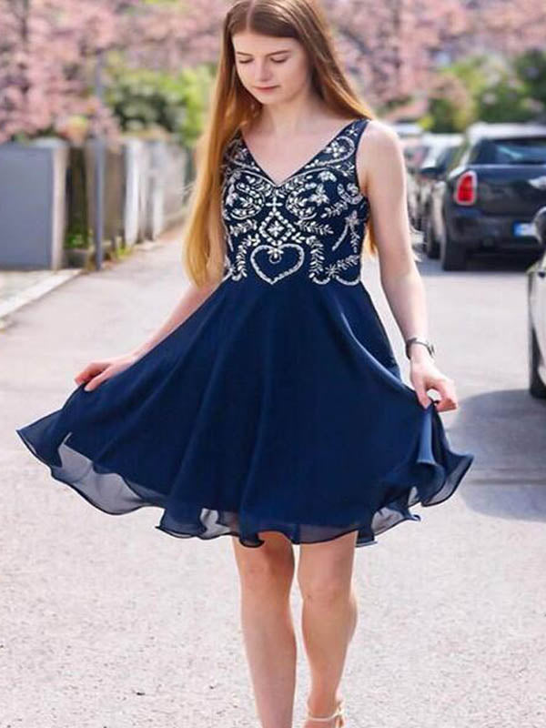 Charming Navy Blue V-Neck Short A-Line Chiffon Homecoming Dresses With Beaded, Homecoming Dresses, PD0749