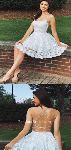 Charming Light Ivory Spaghetti Straps Lace Short Homecoming Dresses, Homecoming Dresses, PD0715