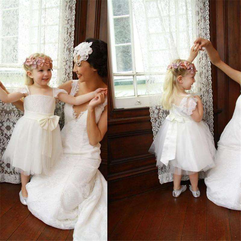 Lovely Lace Top Cap Sleeve A-Line Tulle Flower Girl Dresses With Bow-Knot,Flower Girl Dresses, VB01242