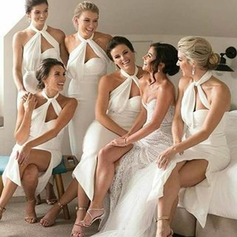 Unique Halter Long Mermaid Side Slit Bridesmaid Dresses, 2019 Bridesmaid Dresses, VB02335