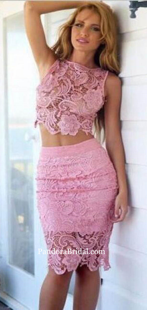 Eye-Catching Pink Two Pieces Lace Tight Homecoming Dresses, Knee-Length Lace Homecoming Dresses, PD0717