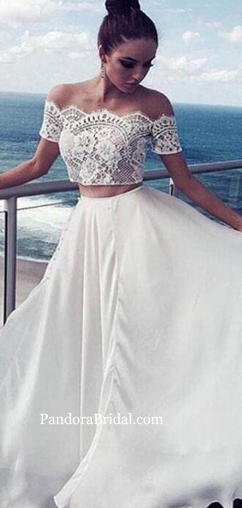 Boho Style Two Pieces Lace Top Long A-Line Wedding Dresses, Wedding Dresses, PD0757