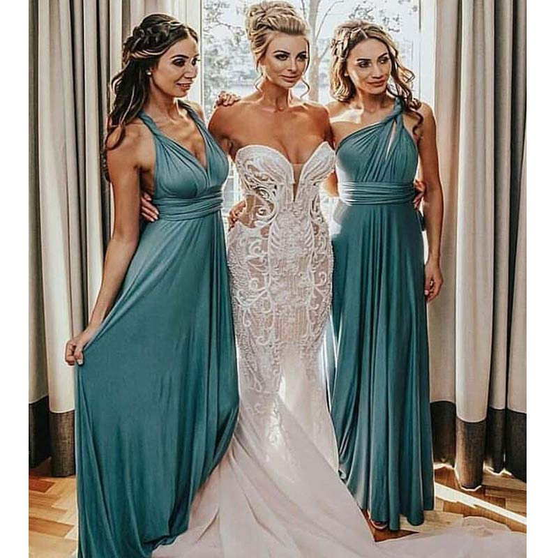 Simple Convertible Pleated Long Bridesmaid Dresses, Bridesmaid Dresses, PD0325