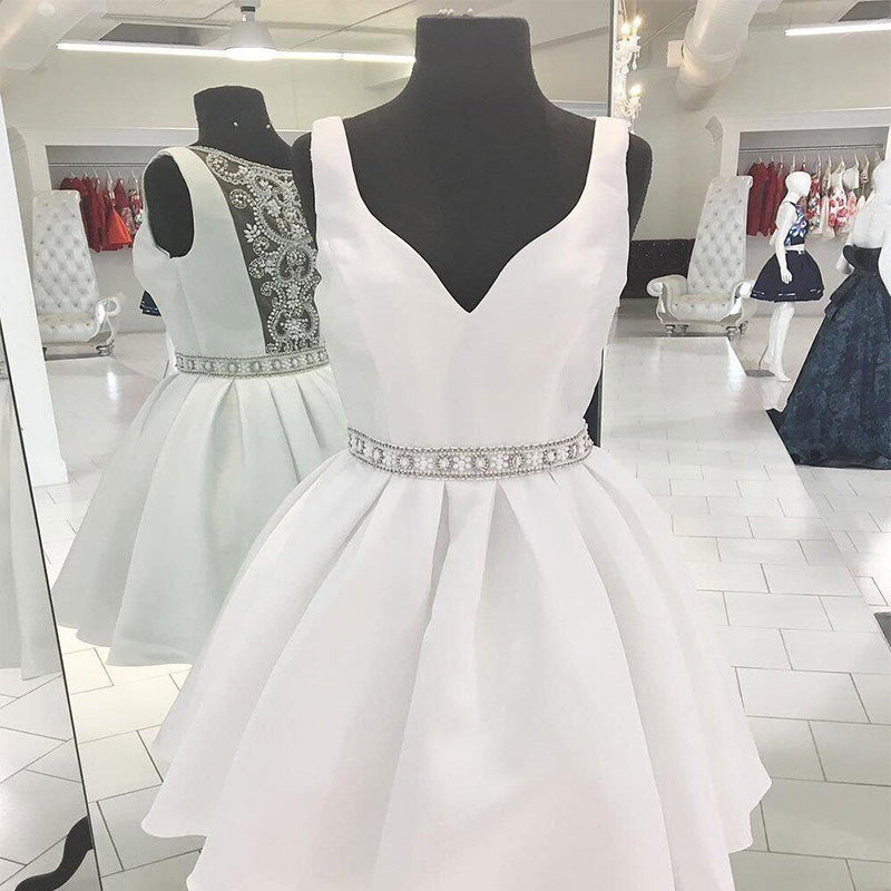 Sexy See Through V-Neck Short Rhinestone White Homecoming Dresses 2018, Homecoming Dresses, PD0028