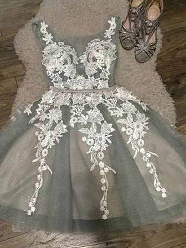 Elegant Straps Lace Up Short A-Line Tulle Homecoming Dresses With Appliques, Homecoming Dresses, PD0686