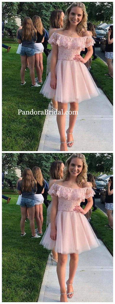 Unique Pink Top Lace With Beaded Short A-Line Tulle Homecoming Dresses, 2019 Homecoming Dresses, PD0799