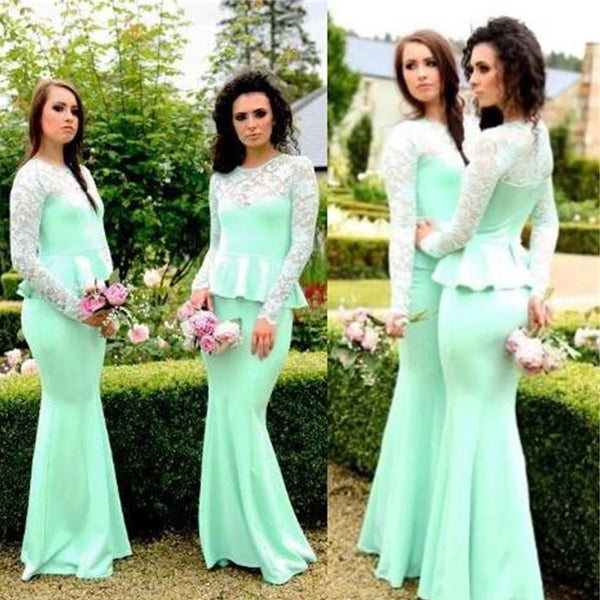 Unique Illusion Long Sleeve With Lace Mermaid Bridesmaid Dresses, PD01696
