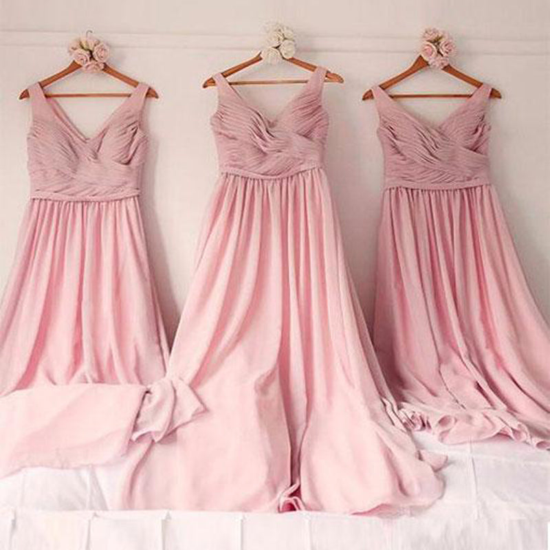Graceful Pink V-Neck Pleated Floor Length Bridesmaid Dresses, Charming Wedding Party Dresses, PD0238