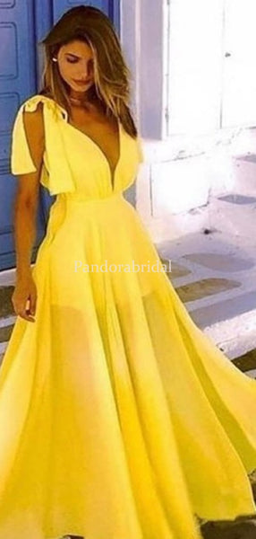 Simple Yellow Deep V-Neck A-Line Prom Dresses, PD01031