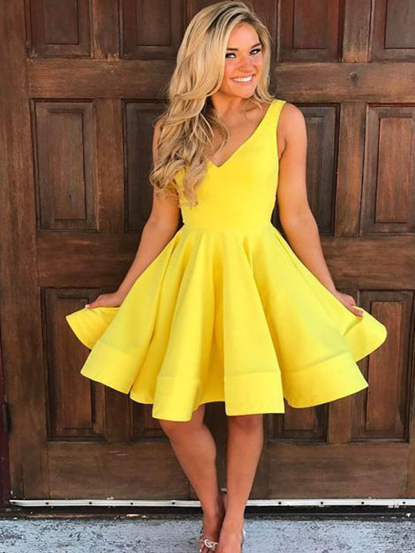 Eye-catching Yellow V-Neck Short Homecoming Dresses, Graduation Dresses, PD0619
