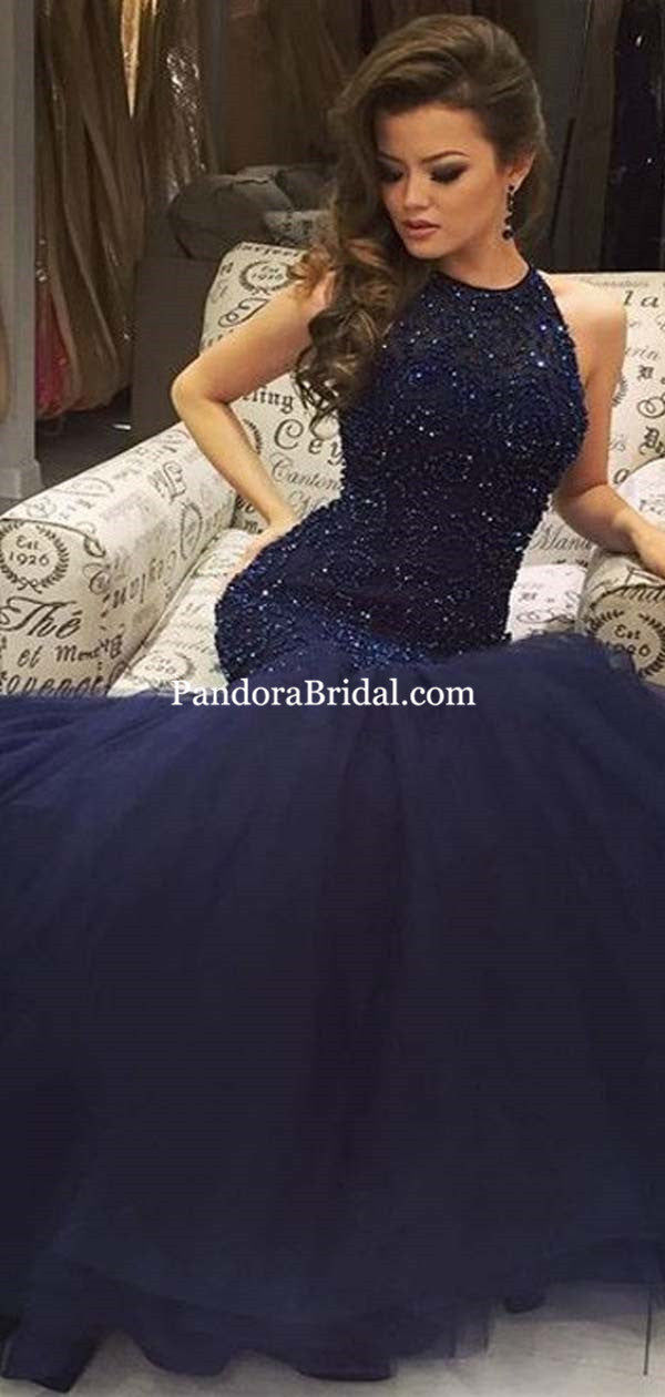 c0170a269607 Gorgeous Navy Blue Sleeveless Lace Mermaid Tulle Prom Dresses, Beading Prom  Dresses, PD0465