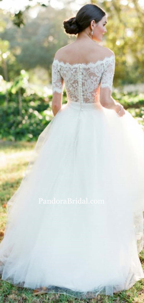 Elegant Off Shoulder Short Sleeve Lace Top Long A-Line Tulle Wedding Dresses, Bridal Gown, PD0546