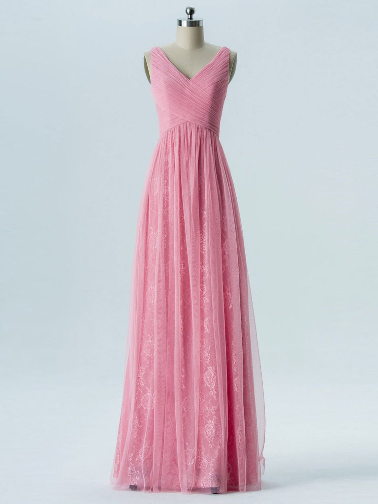 V Neck Pink Lace Cheap Long Bridesmaid Dresses Online, WG288