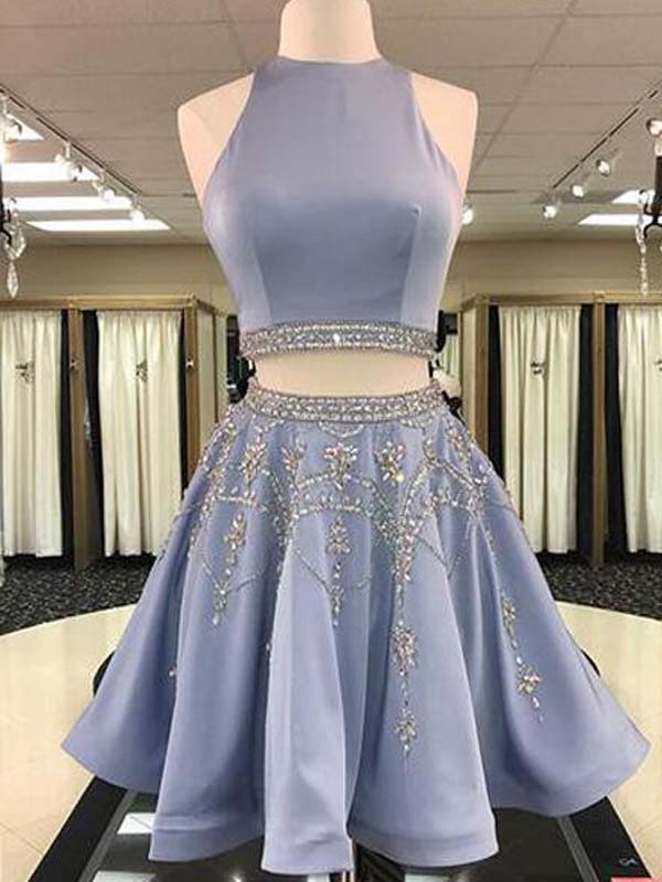 Stylish Two Piece A-Line Jewel Sleeveless Short Homecoming Dress With Beading, Purple Homecoming Dresses, PD0265