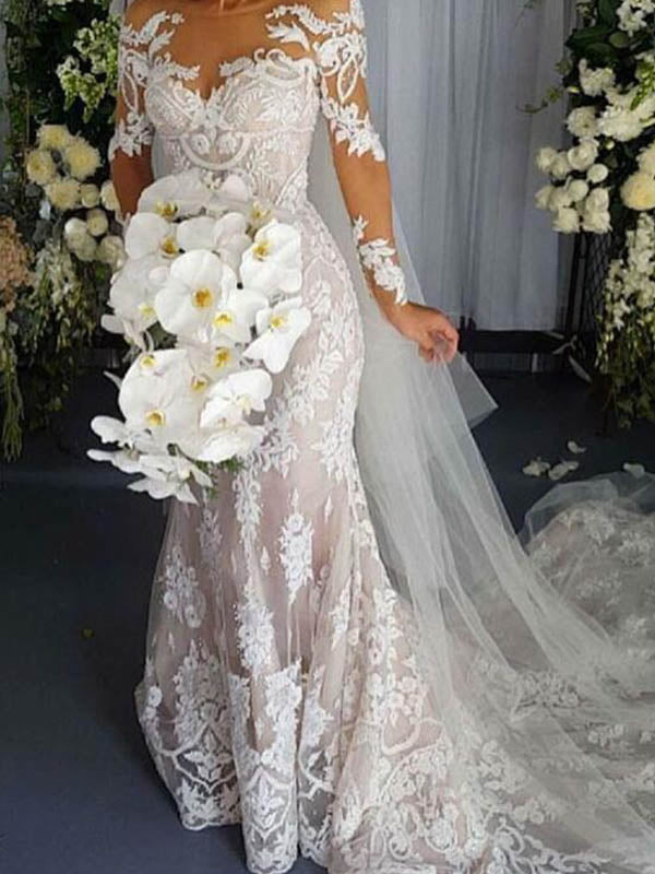 Scoop Neckline Long Sleeve Mermaid Wedding Dresses With Lace Appliques, Wedding Dresses With Trailing, PD0782