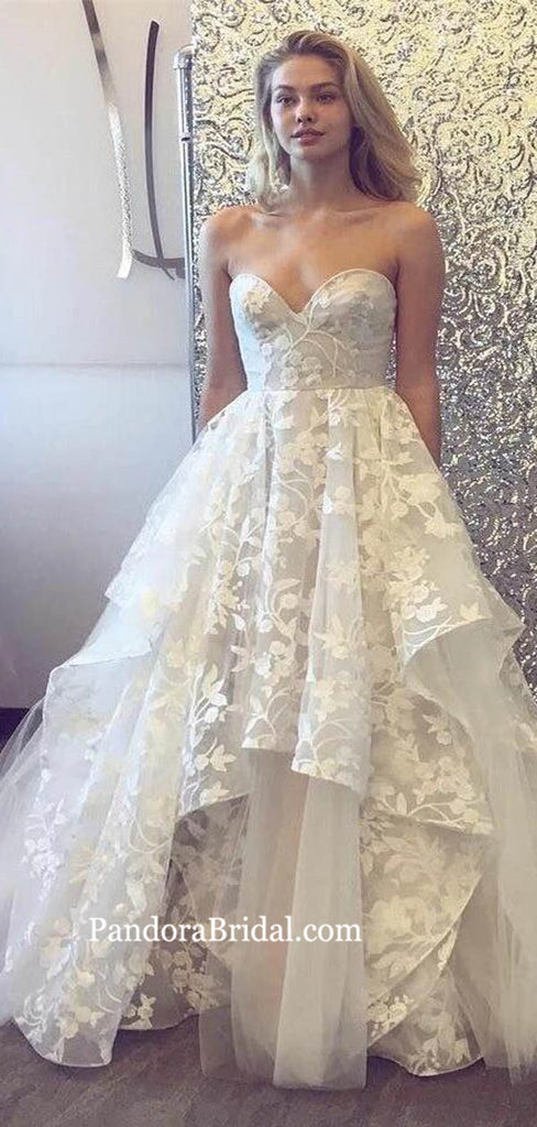 Sweetheart Asymmetrical Wedding Dresses With Appliques, Wedding Dresses, PD0783