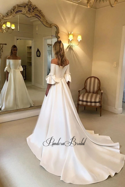 Elegant Off Shoulder A-Line Satin Wedding Dresses, PD01755