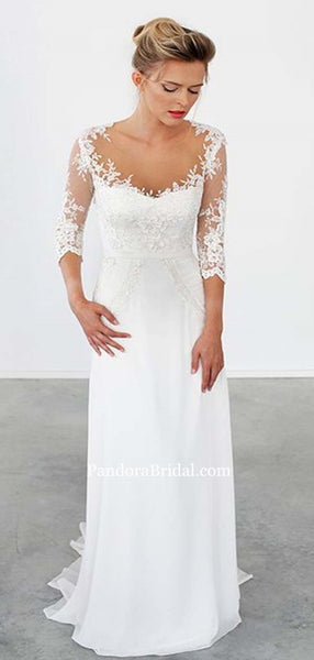 Scoop Neckline Column Half Sleeve Long Wedding Dresses With Lace, Wedding Dresses, PD0543