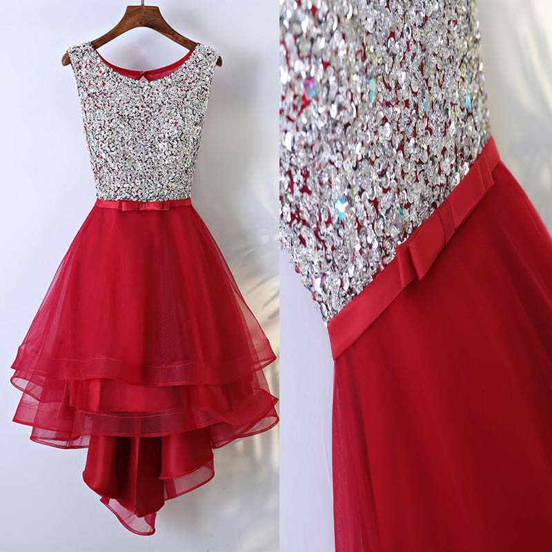 Sparkly Red Scoop Neckline Key Hole Back Top Sequin With Beaded Homecoming Dresses, Unique Asymmetrical Homecoming Dresses, PD0107