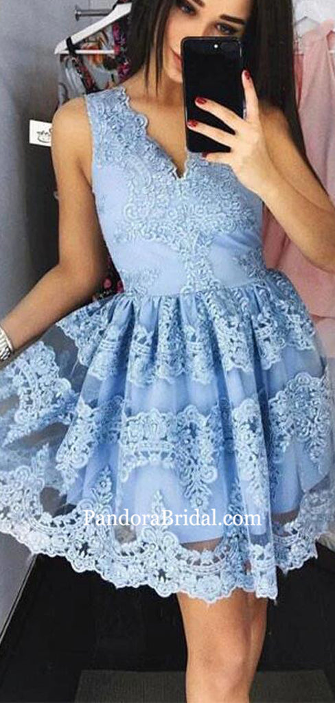 Charming Blue V-Neck Lace Homecoming Dresses, 2019 Homecoming Dresses, PD0811